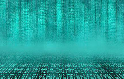 Artistic photograph of binary code in bright green and black