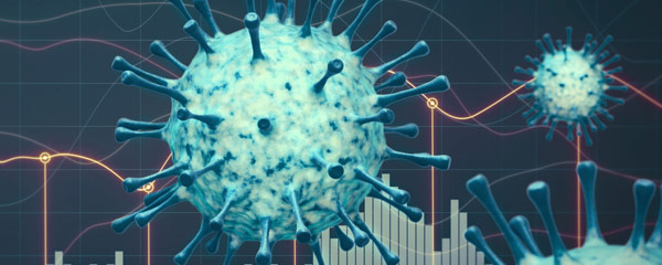 Illustration of coronavirus with graphs in the background